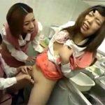 【レイプレズ動画】会社のレズビアンの先輩2人にイジメられるノンケの後輩…手マンやクンニや浣腸で責められる♡